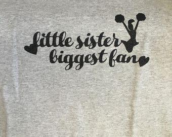 Little Sister Biggest Fan Cheer Shirt
