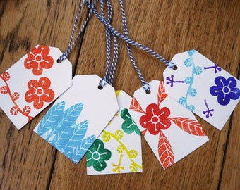 Multicolored floral tags. stamped by hand. set of 5 tags with strings