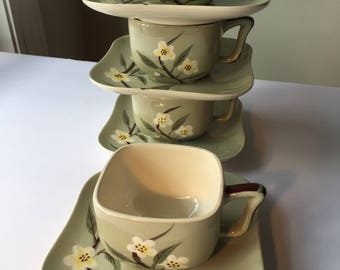 Weil Ware Blossom 7 Cups & Saucers