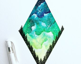 Green Galaxy Sky - ORIGINAL