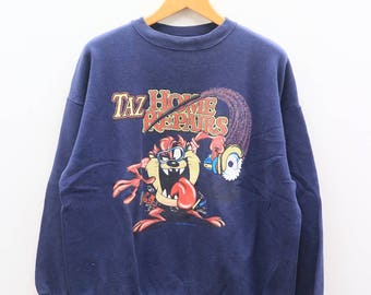 Vintage TAZMANIA Taz Home Repairs Blue Sweater Sweatshirt Size XL