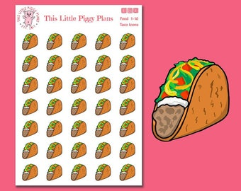 Taco Tuesday Planner Stickers - Taco Planner Stickers - Tacos - Taco Stickers - Food and Drink - Food Stickers - Food Icons - [Food 1-10]