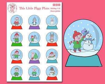 Snow Globes - Snow Globe Planner Stickers - Winter Stickers - Christmas Stickers - Holiday - Seasonal Stickers - Snow Globe - [Holiday 1-22]