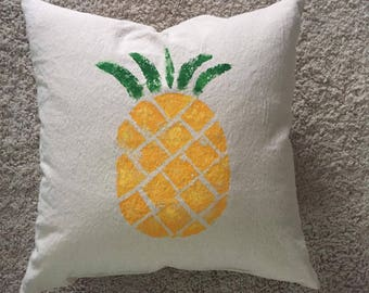 Pineapple Pillow,  Coastal, Tropical, Beach house, Welcome