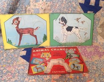 Saalfield Animal Change-O's Puzzle Game Vintage