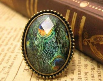 "Beautiful fancy ring ""Peacock feather"" adjustable size"