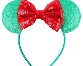 Green and red glitter and sequin The Little Mermaid disney ears. Disneyworld, disneyland, mickey mouse, Minnie mouse, mouse ears.