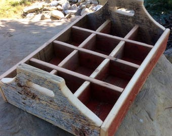 Red Reclaimed Barn Wood Tray - Planter - 12 Compartment - Rustic - Country Decor