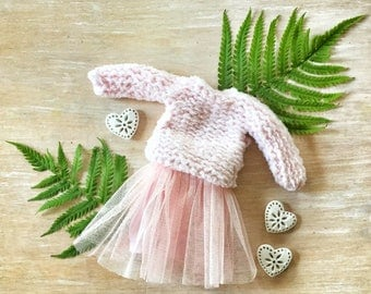 Blythe Clothes Outfit Doll Handwork Skirt Sweater Set Pink
