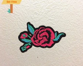 Rose Iron on Patch , Rose Embroidered Patch- Size 2.36'' W x 4.96'' H