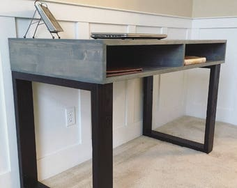 Modern Mid Century Solid Wood Office Desk In Weathered Gray
