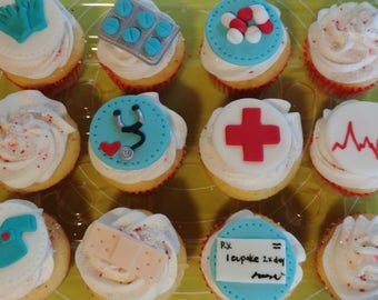 12 Fondant Medical Themed Cupcake Toppers