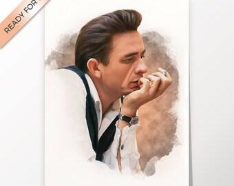 Johnny Cash, artwork, handmade, PRINTABLE art, poster, instant download, digital print, home decor, decor, fine art print, wall art,download