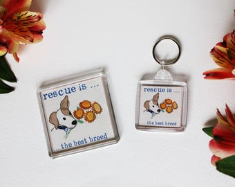 Tommy Doggy rescue dog magnet and keyring set