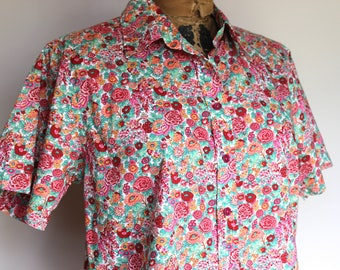 Liberty Floral Vintage 80's Shirt Blouse, Short Sleeve Cotton, Bohemian Blouse, Liberty Floral Boho, Floral Shirt