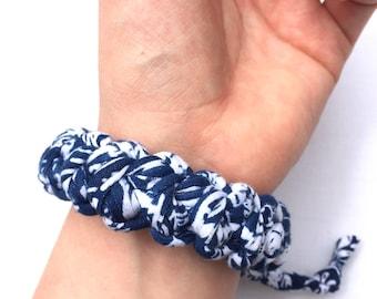 Adjustable fabric bracelet, Tshirt yarn bracelet, holiday wear, chunky jewellery, knit bracelet, statement jewelry.