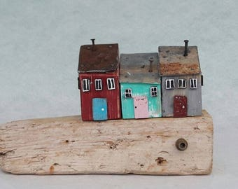 wood house, tiny house, driftwood art, driftwood sculpture, reclaimed wood, rustic home decor, richidriftwoodart, little house, diorama, toy