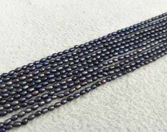3-3.5 mm rice pearl,black pearl ,seed pearl,necklace,pearl string.