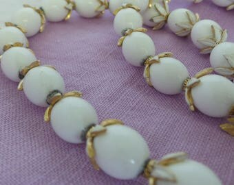 Crown Trifari White Bead Necklace