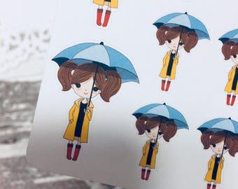 Rainy Day Sticker | Walk in the Rain Sticker | Planner Girl Sticker