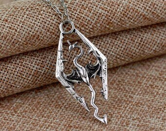 Silver Skyrim Dragon Necklace