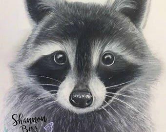 A3 Raccoon woodlands baby animal nursery print