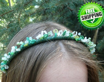 Green and White Hair Wreaths Natural Cat's Eye Gemstone Seed Bead Crown Christmas gift idea Disney princess crown Beaded crown Tiana crown