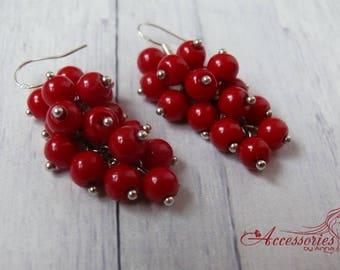 Red Cluster earrings Silver 925 Grape earring Berry Love earring Boho jewelry Everyday Passion earring Vintage style earrings Dangle earring