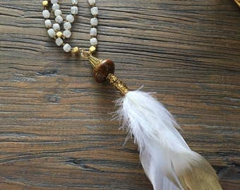 Beaded Necklace with Feather Pendant