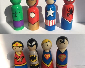 Individual superhero wooden peg dolls