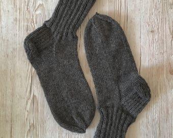 Men wool socks, hand knit socks, grey wool socks, wool blend socks, winter socks, men warm socks, boot socks, 9 UK  43 EU size socks
