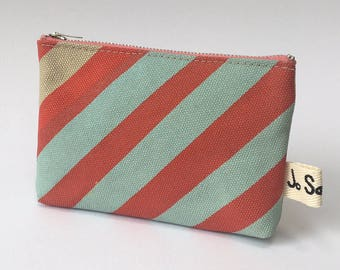 Coin Purse/Small Purse/Red and Mint Stripe Print on Beige Canvas/Handmade/Zip Fastener/Lots of Different, One Off Designs to Choose From