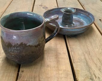 Cup with candle holder ceramic as set.
