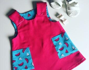Pink reversible 'i carried a watermelon' dress - toddler summer dress - watermelon girls dress