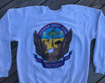Vintage 90s 1991 Military Operation Desert Storm Crewneck Sweatshirt