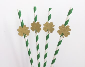 St Patrick's Day Paper Straws, Shamrock Paper Straws, Parties, Celebrations