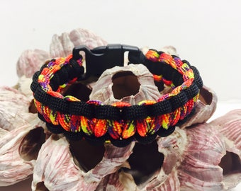 550 Paracord with red, orange, yellow, and purple called Phoenix Sunrise