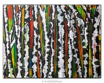 """Birch Tree Colorful Acrylic Painting on canvas - Large Original Abstract Wall Art - 60x80cm (24""""x32"""") - Handmade Contemporary Home Decor"""