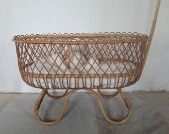 Rattan Crib Bassinet Cradle designed by Dirk Van Sliedregt for Rohe Noordwolde