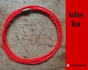 Active Red - Waist Beads - Belly Chain - Belly Beads - African Waist Beads