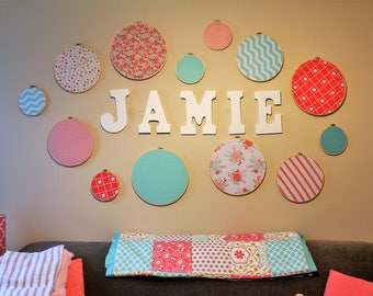 Customized Fabric Embroidery Hoop Wall Art