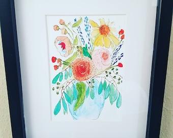 Flowers in vase watercolor painting