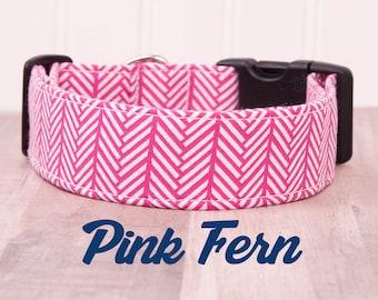 "Pink and White Geometric Arrow Dog Collar ""Pink Fern"""