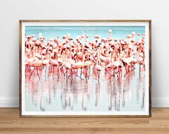 Flamingos Wall Art, Pink Flamingos Print, Tropical Wall Art Decor, Flock of Birds, Modern Photography, Pink Blue, Printable Instant Download