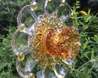 Repurposed Glass Flower/Suncatcher/Wall Decor/Garden Art
