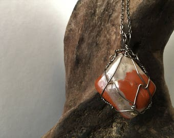 Red Jasper Wire Wrapped  Crystal Necklace