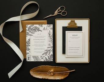 Invitation vegetable printable wedding Invitation & RSVP, greenery, antique, engraved