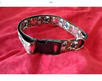 Large dog collar adjustable novelty brown pugs design