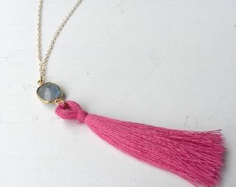 Pink Tassel with Quartz Stone