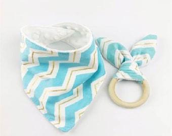 Bandana bibToddler Scarf Bib Bunny Ears Teether Toys  Infant Teething Gift With Organic Natural Wooden Ring Baby Bandana Bibs Baby Teether